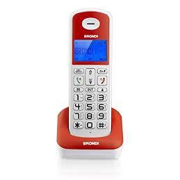 TELEFONO CORDLESS BRONDI BRAVO STYLE BIANCO E ROSSO