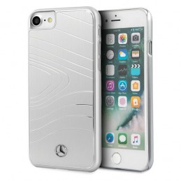 COVER RIGIDA MERCEDES BENZ IPHONE 7 8  SE 2020 SILVER ALLUMINIO