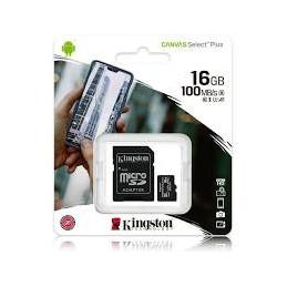 MEMORY CARD KINGSTONE CANVAS SELECT MICRO SD 16 GB CLASSE 10 CON ADATTATORE SD