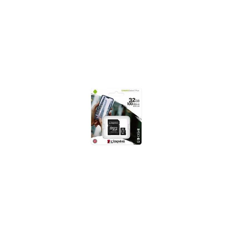 MEMORY CARD KINGSTONE CANVAS SELECT MICRO SD 32 GB CLASSE 10 CON ADATTATORE SD