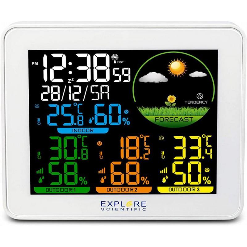 Barometro,Orologio radiocontrollato Doppio allarme con snooze Display a colori ,inclusi 3 sensori in confezione
