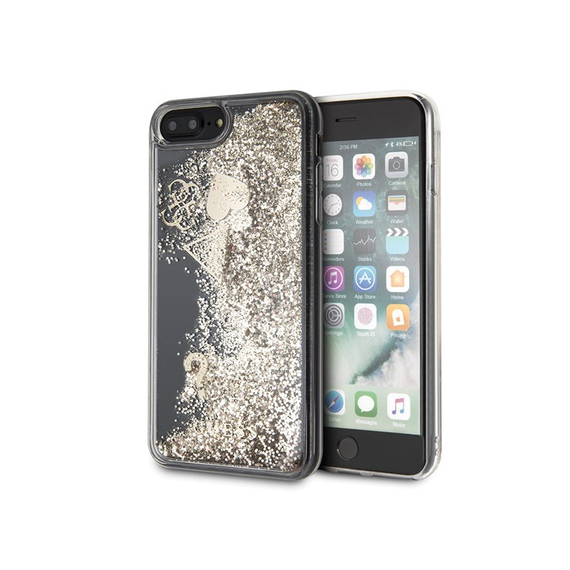 COVER GUESS IPHONE 7 / 8 PLUS GUESS GLITTE HEARTS GOLD