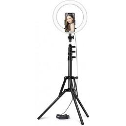 Anello LED con Supporto Treppiede Regolabile e portatelefono per Selfie Ring con Light Dimmerabile