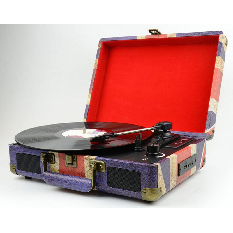 GIRADISCHI VINTAGE CON ENCODER BLUETOOTH LETTORE CD/MP3 CASSETTA USB