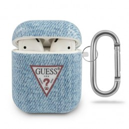 COVER GUESS AIRPODS 1/2 EFFETTO JEANS AZZURRO