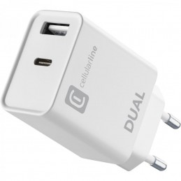 CARICABATTERIA DA RETE DUAL USB-C + USB 20 Watt BIANCO