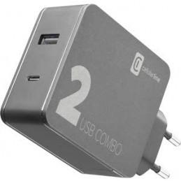 CARICABATTERIE DA RETE COMBO USB+USB-C 42 Watt  ( 30+12 )