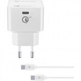 CARICABATTERIE RETE USBC COMPLETO DI CAVO USB-C / USB-C 30 Watt BIANCO