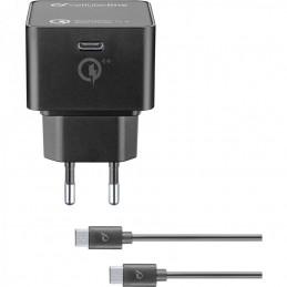 CARICABATTERIE RETE USBC COMPLETO DI CAVO USB-C / USB-C 30 Watt NERO