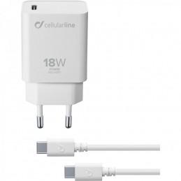 KIT CARICABATTERIA DA RETE USB-C 18 Watt BIANCO COMPLETO DI CAVO USB-C 100cm
