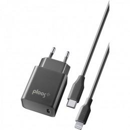 KIT CARICABATTERIE RETE USB-C COMPLETO DI CAVO USB-C / LIGHTING